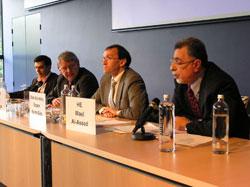 (right to left): Amb. Wa'el Al-Assad (Arab League), State Secretary Espen Barth-Eide (Norway), Dr. Goetz Neuneck (Germany) and Amb. Reza Ziaran (Iran)