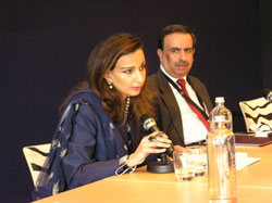 Hon. Sherry Rehman, former Federal Minister for Information, Pakistan, gives the 2009 Dorothy Hodgkin Memorial Lecture, chaired by Prof. Amitabh Mattoo (India)