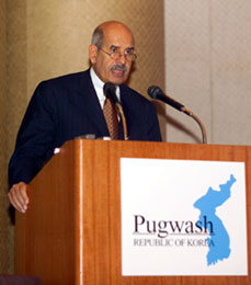 Dr El-Baradei addresses the conference