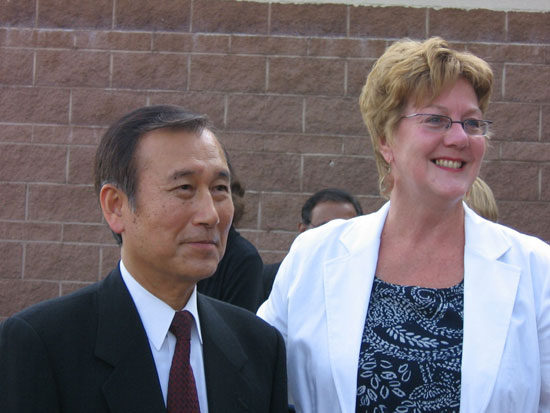 Hiroshima Mayor Tadatoshi Akiba and Patricia McWade