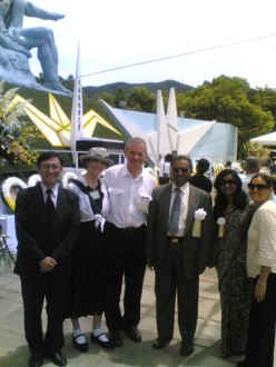 With Film Crews at Nagasaki Memorial Ceremony