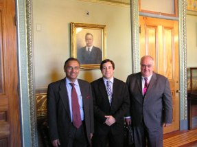 Jayantha Dhanapala and Paolo Cotta-Ramusino with Jon Wolfsthal in the office of Vice-President Joseph Biden, April 27, 2009, discussing CTBT ratification and other topics