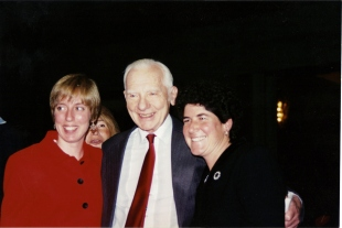 Former Pugwash President Jo Rotblat with ISYP Sandra Ionno and Betsy Fader at the Nobel Awards in 1995