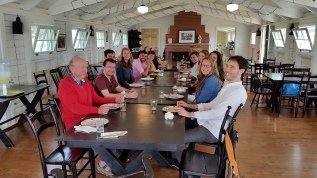 """ISYP members dinner at the """"Lobster Factory"""", Thinkers Lodge, July 2015"""