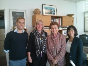 Executive Director Sandra Ionno Butcher and ISYP Representatives meet with Cora Weiss, President of the Hague Appeal for Peace
