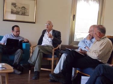 (L-R): Meir Javenper, David Menashri, Ephraim Halevy, Yossi Alpher