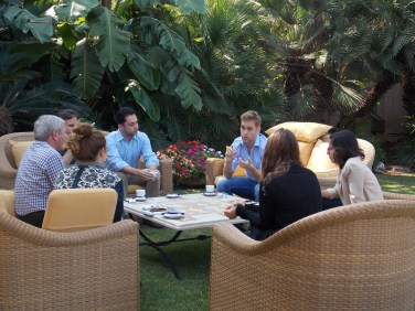 ISYP members discuss the meeting with Israeli students during a break