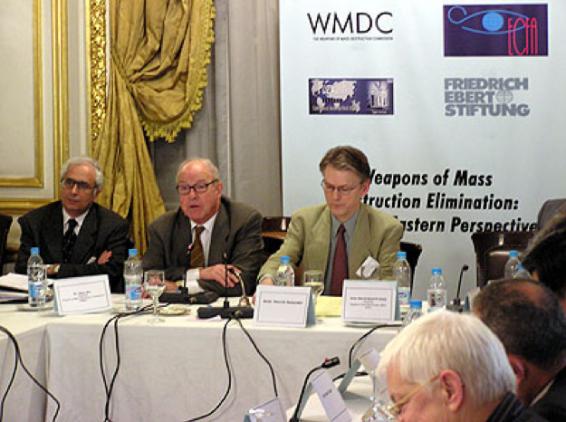 Amb. Abdel Moneim, Dr. Hans Blix, and Amb. Henrik Salander