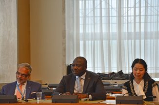 (L-R) Jose Luis Cancela, Ambassador and Permanent Representative of Uruguay to the WTO; Lassina Zerbo, CTBTO Executive Secretary; Marzhan Nurzhan, CTBTO Youth Group and ISYP;