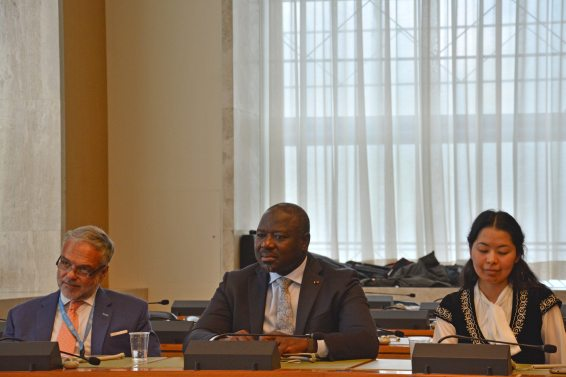 (L-R) Jose Luis Cancela, Ambassador and Permanent Representative of Uruguay to the WTO; Lassina Zerbo, CTBTO Executive Secretary; Marzhan Nurzhan, CTBTO Youth Group and ISYP;